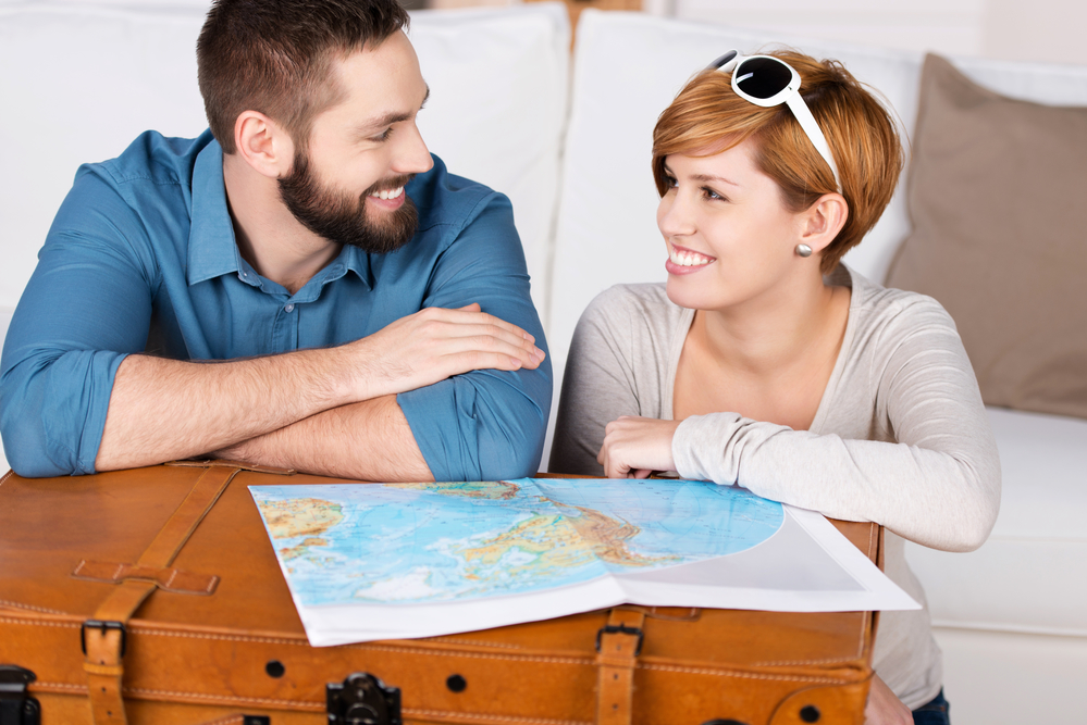 Young couple planning a travel