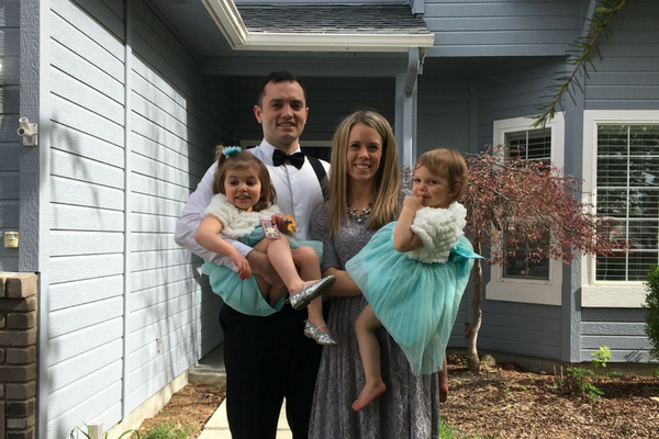 Stephen Larsen with wife and daughters