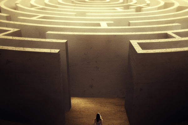 Person stood at the beginning of a maze