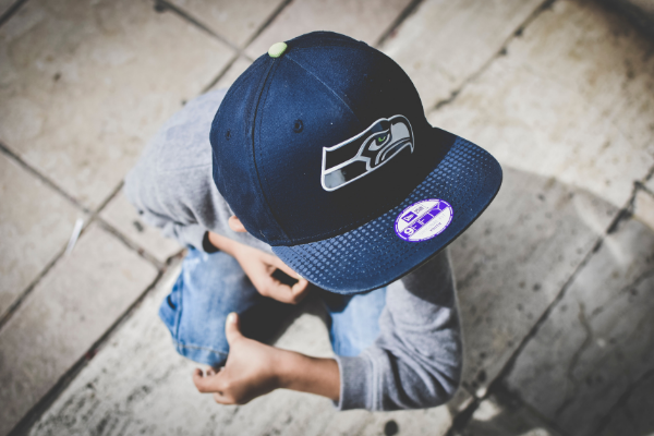 kid with hat on