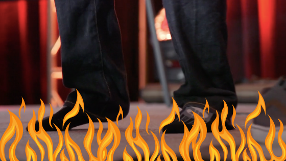 Steven Larsen feet on fire