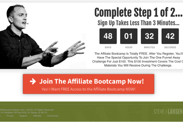 Affiliate marketing sales page